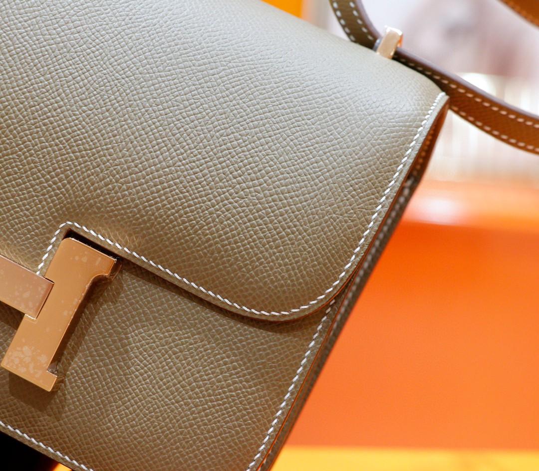 Hermès(爱马仕)Constance 空姐包 大象灰 Epsom 全手缝 浅金扣 19cm
