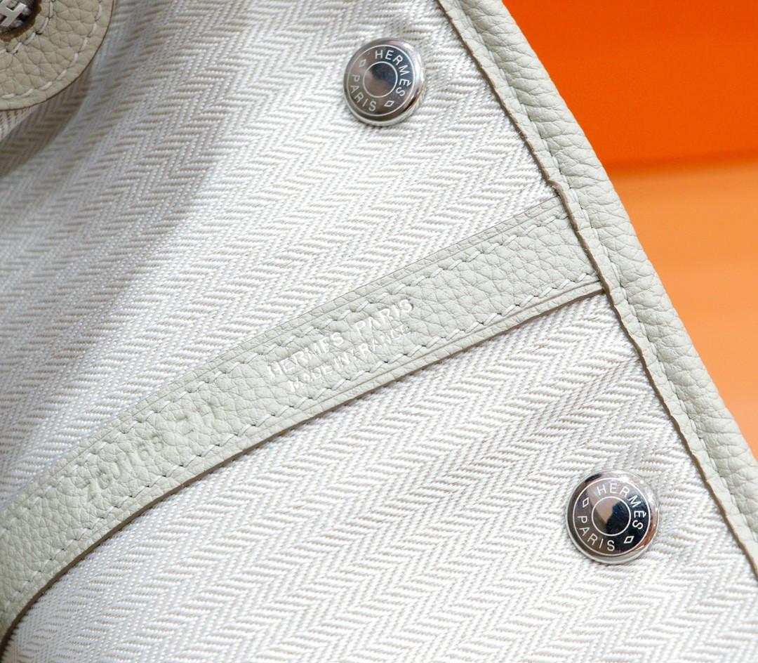 Hermès(爱马仕)Garden party 花园包 奶昔白 Togo 全手缝 银扣 30cm