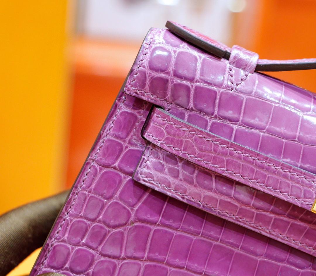 Hermès(爱马仕)Minikelly 迷你凯莉 晚宴包 梦幻紫 亮面鳄鱼皮 金扣
