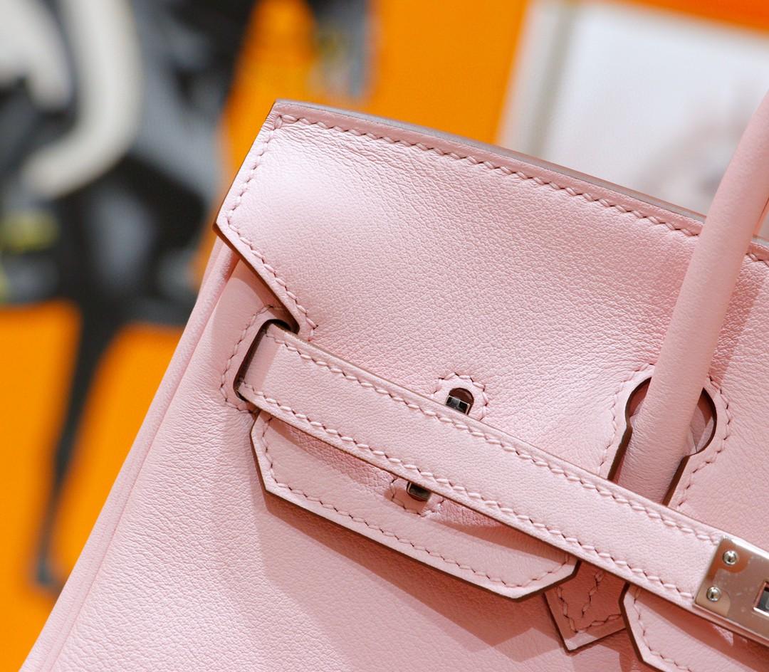 Hermès(爱马仕)Birkin 铂金包 奶昔粉 Swift 全手缝 银扣 25cm