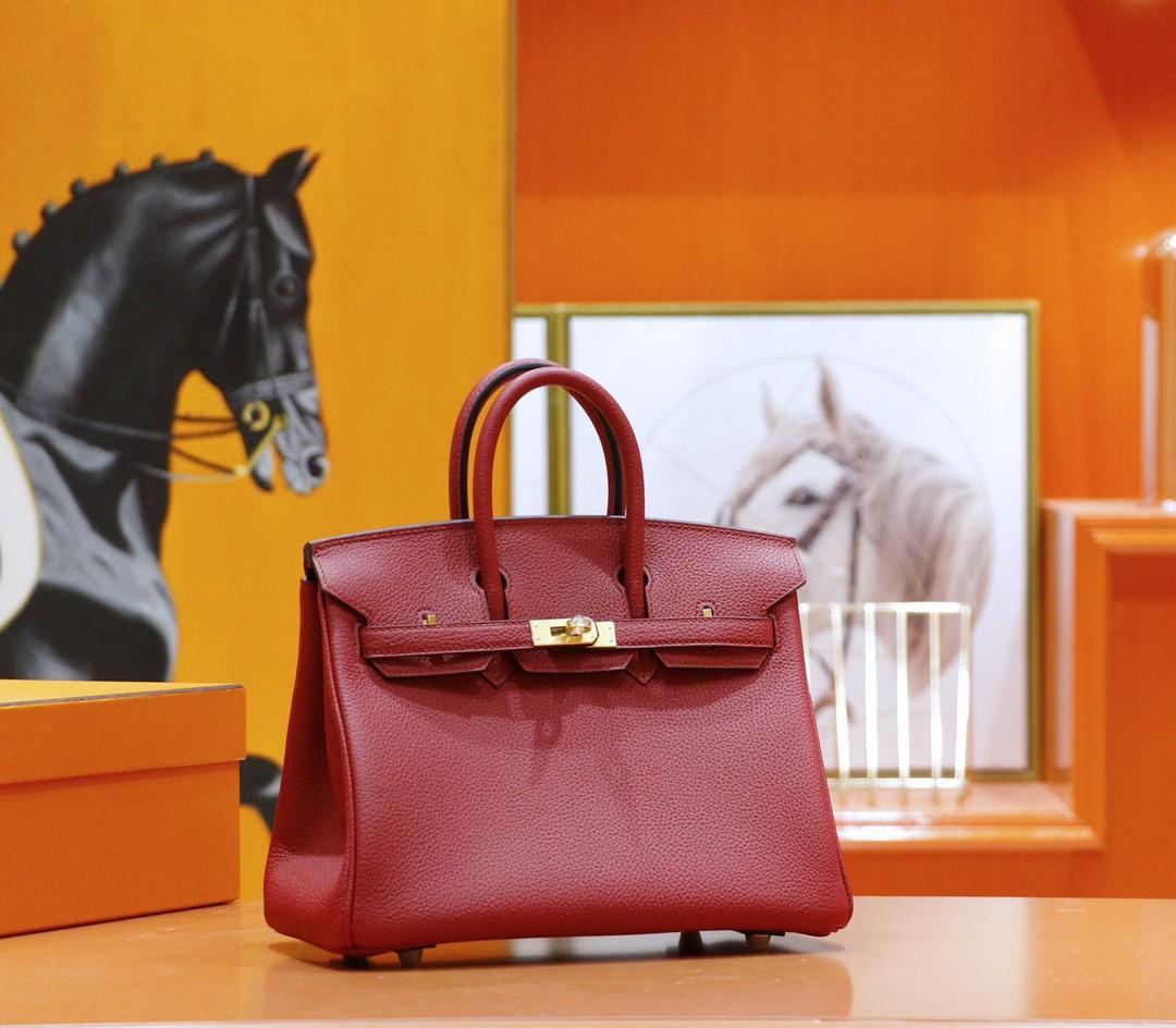 Hermès(爱马仕)Birkin 铂金包 国旗红 Togo 全手缝 金扣 25cm