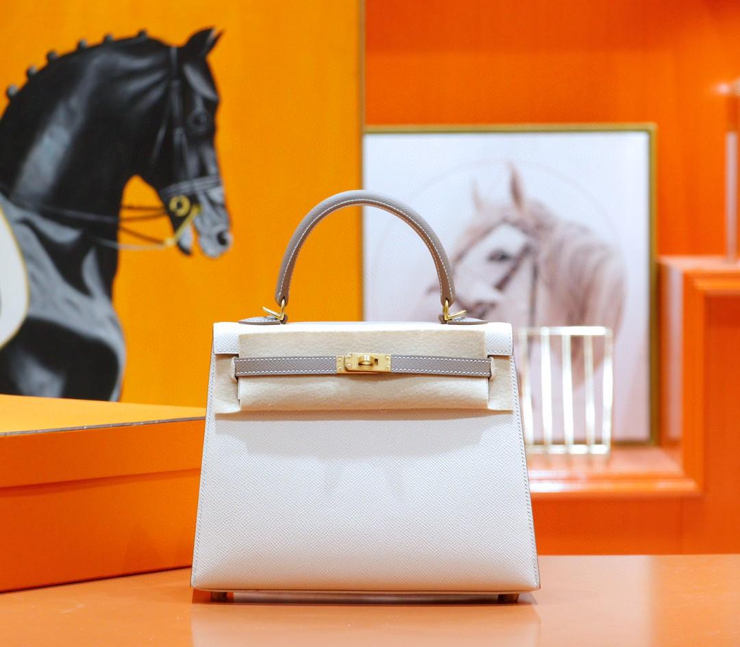 Hermès(爱马仕)Kelly 凯莉包 奶昔白拼海鸥灰 Epsom 全手缝 磨砂扣 25cm