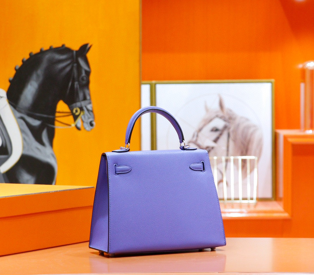Hermès(爱马仕)Kelly 凯莉包 紫罗兰内拼桃红 山羊皮 全手缝 银扣 25cm