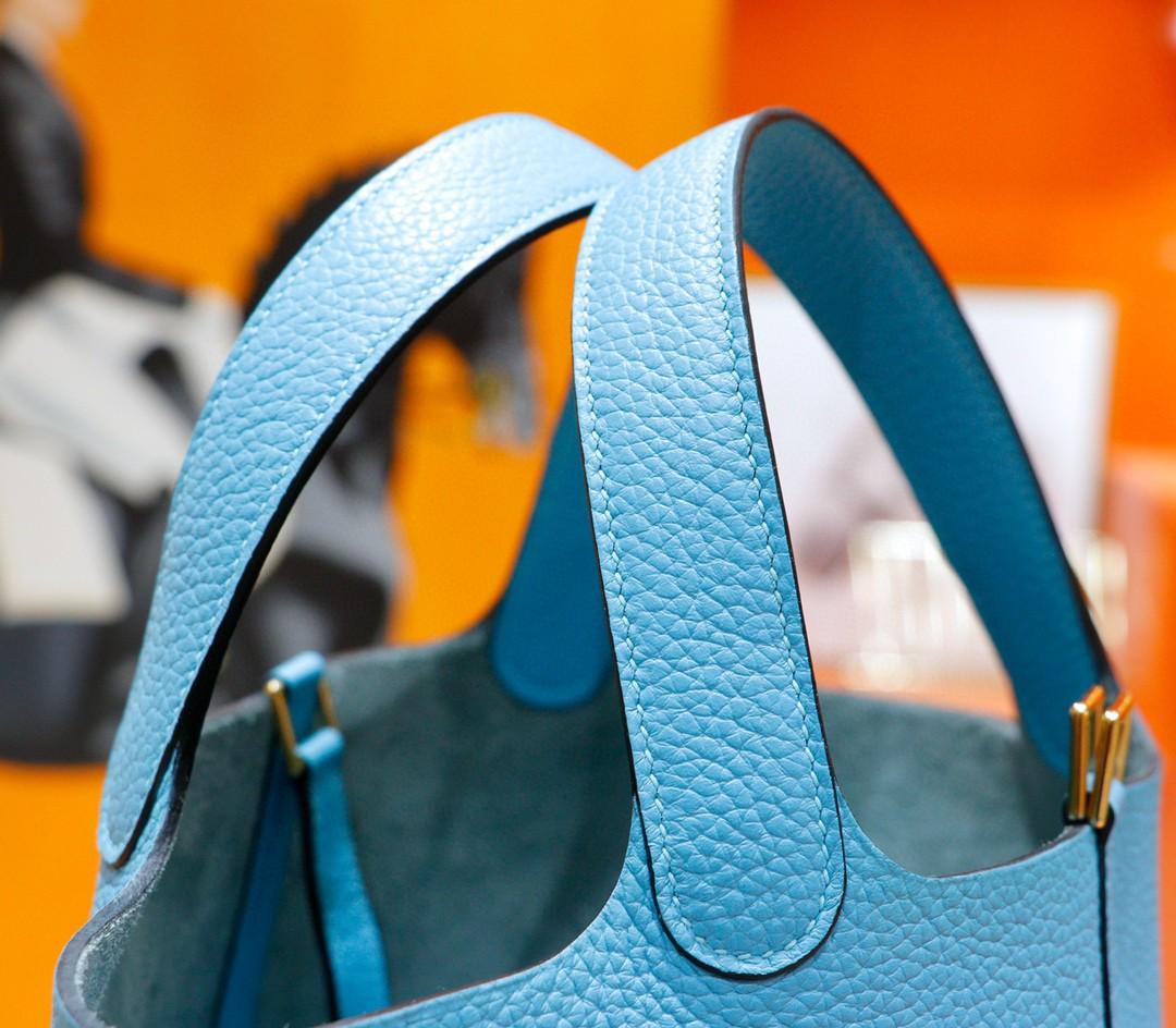 Hermès(爱马仕)Picotin 菜篮子 北方蓝 Togo 全手缝 金扣 18cm
