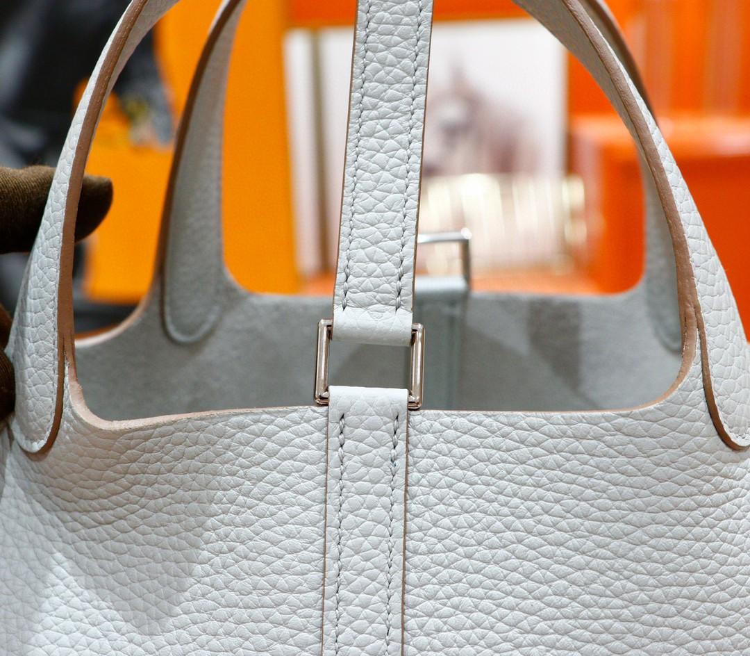 Hermès(爱马仕)Picotin 菜篮子 珍珠灰 Togo 银扣 18cm 全手缝