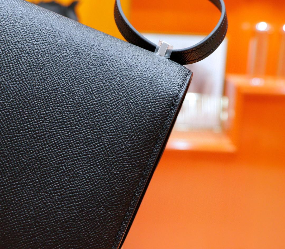 Hermès(爱马仕)Constance 空姐包 黑色 珐琅扣 全手缝 银扣 19cm