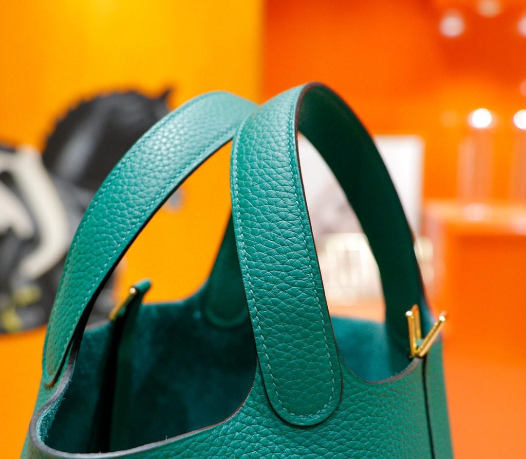 Hermès(爱马仕)Picotin 菜篮子 丝绒绿 Togo 全手缝 金扣 18cm