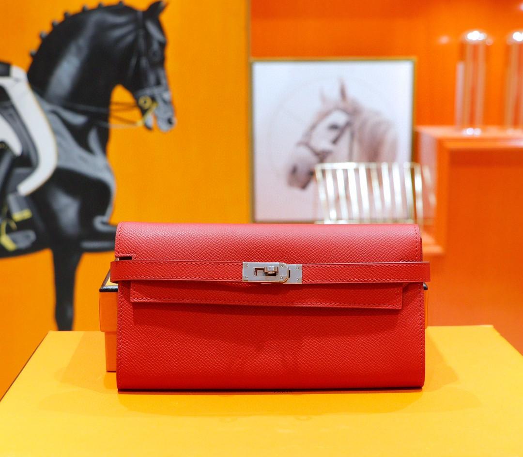 Hermès(爱马仕)Kelly 长款钱夹 国旗红 Epsom 全手缝 银扣