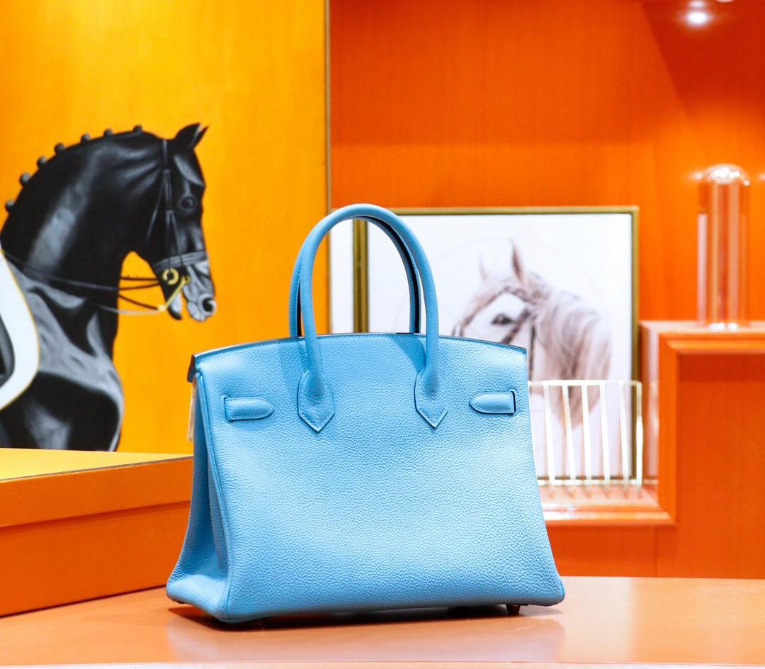 Hermès(爱马仕)Birkin 铂金包 北方蓝 Togo 全手缝 金扣 30cm
