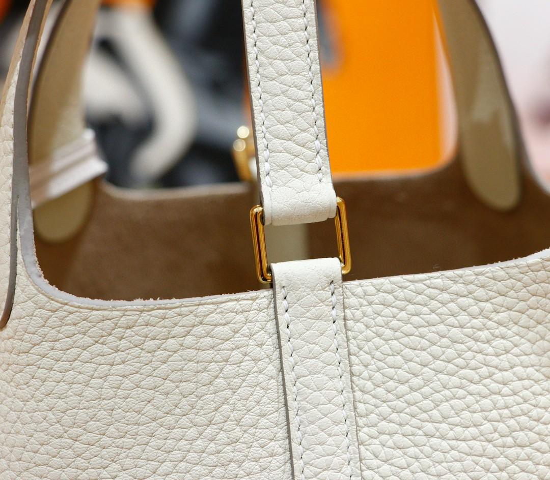 Hermès(爱马仕)Picotin 菜篮子 奶昔白 Togo 全手缝 金扣 18cm
