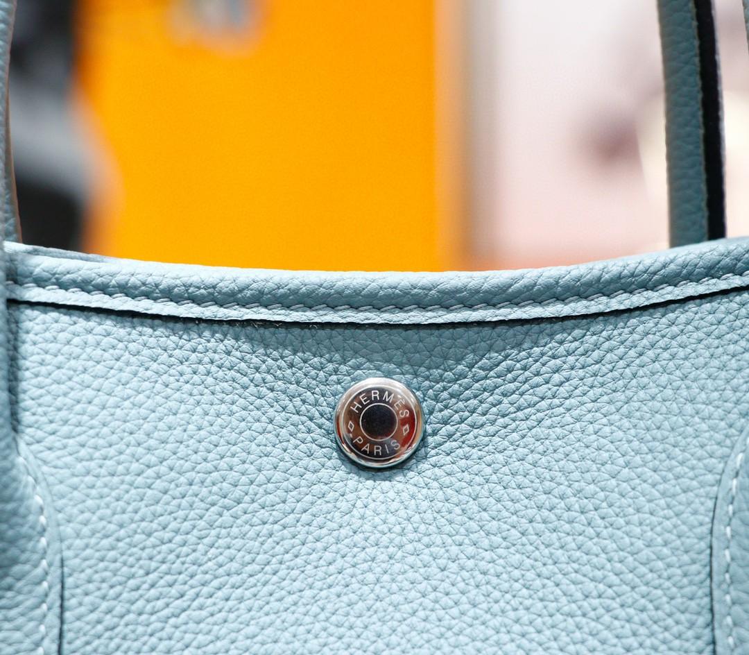 Hermès(爱马仕)Garden party 花园包 天青色 Togo 全手缝 银扣 30cm