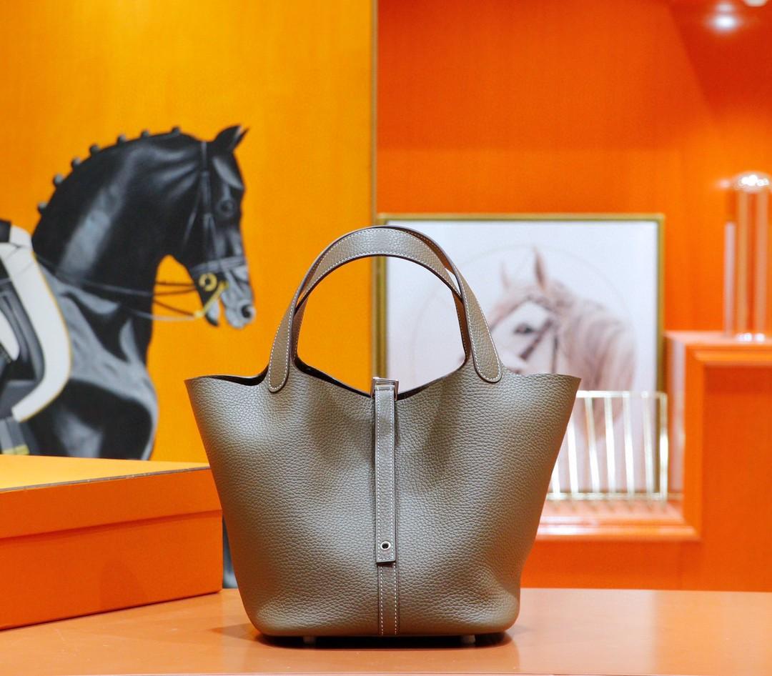 Hermès(爱马仕)Picotin 菜篮子 大象灰 Togo 全手缝 银扣 22cm