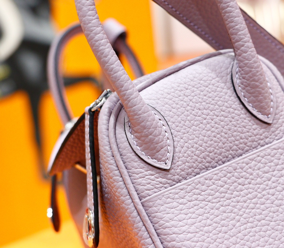 Hermès(爱马仕)Lindy 琳迪包 香芋紫 Togo 全手缝 银扣 20cm