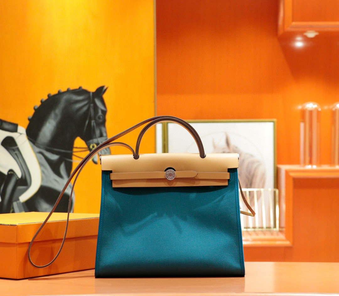 Hermès(爱马仕)Herbag 孔雀蓝 原版帆布 拼 原厂皮 最高版本 银扣 31cm