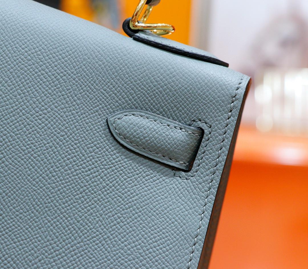 Hermès(爱马仕)Kelly 凯莉包 杏仁绿 Epsom 全手缝 金扣 28cm