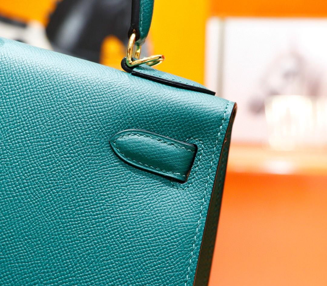 Hermès(爱马仕)Kelly 凯莉包 孔雀绿 Epsom 金扣 28cm 全手缝