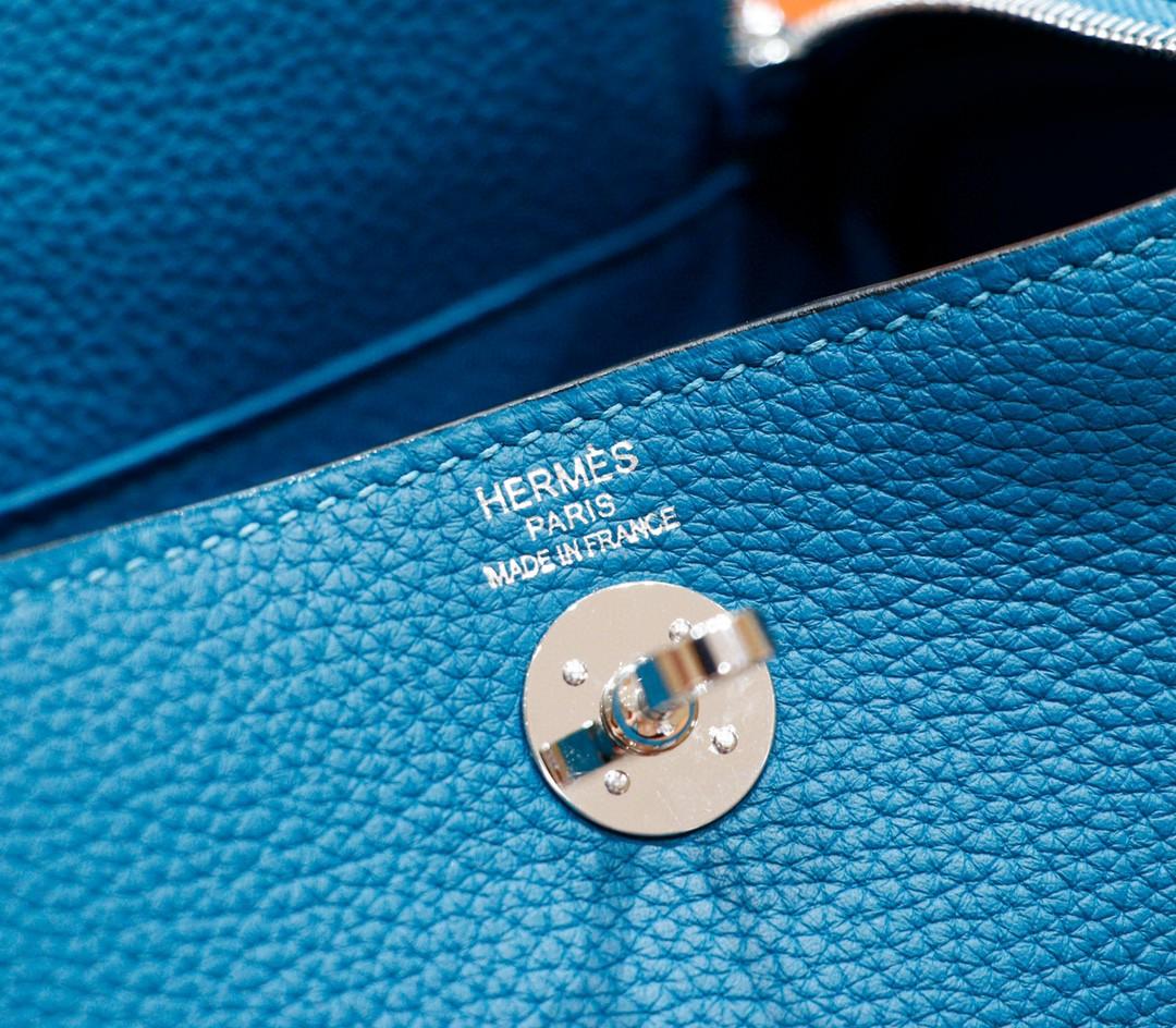 Hermès(爱马仕)Lindy 琳迪包 孔雀蓝 Togo 全手缝 银扣 20cm