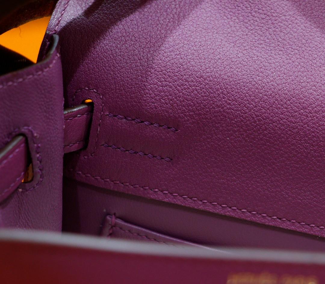 Hermès(爱马仕)Kelly dance 跳舞包 海葵紫 Evercolor 全手缝 金扣