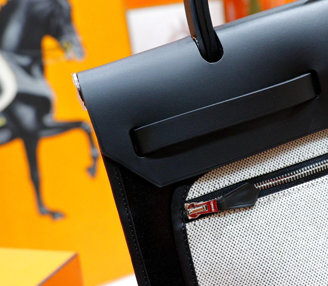 Hermès(爱马仕)Herbag 黑色 防水原版帆布拼原厂皮 最高版本 银扣 31cm