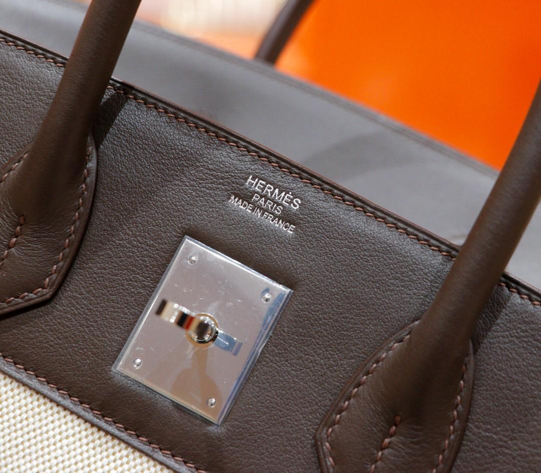 Hermès(爱马仕)Birkin 铂金包 乌木色 Swift 拼 原版帆布 银扣 30cm