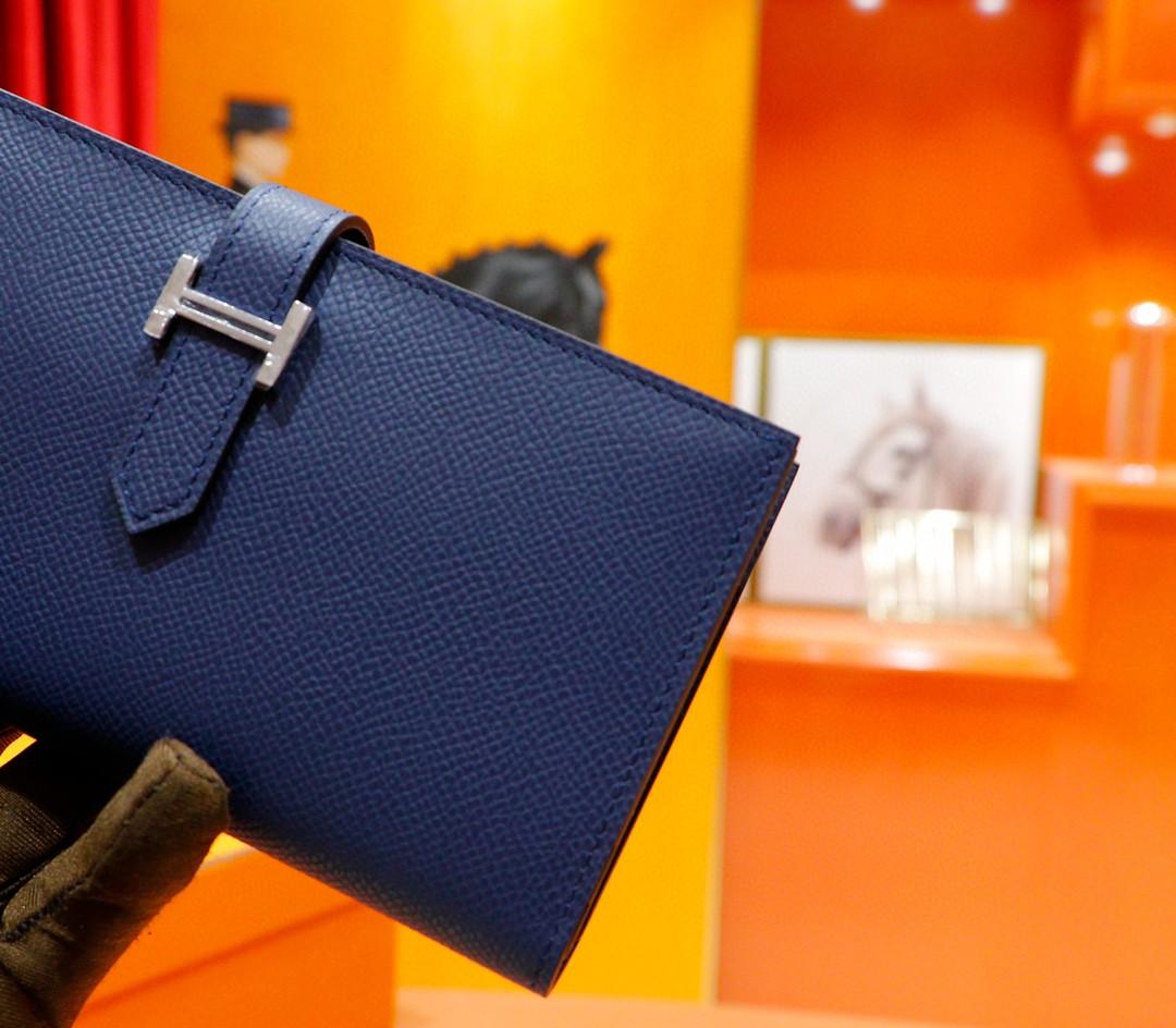 Hermès(爱马仕)Beran 长款钱夹 宝蓝 Epsom 全手缝 银扣