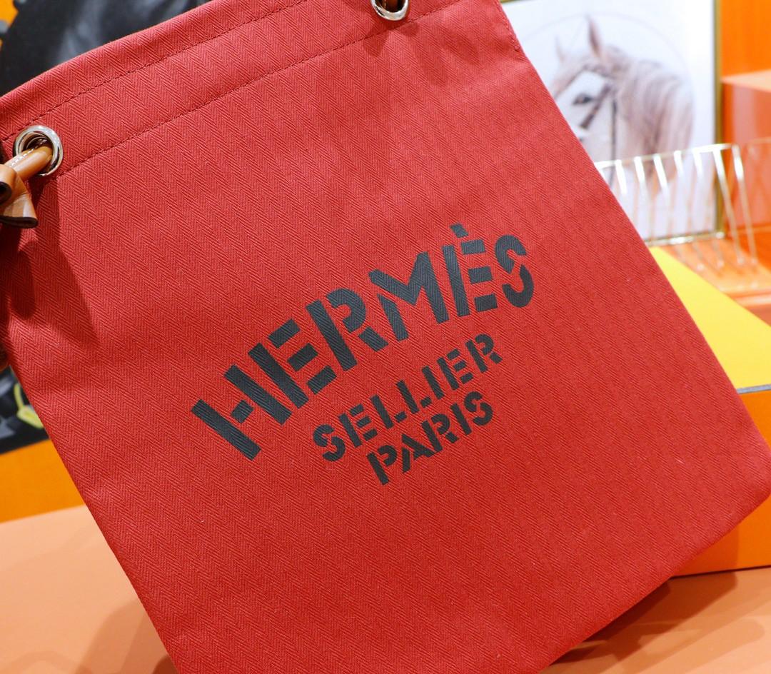 Hermès(爱马仕)Aline 酒红色 原版帆布拼Swift 银扣