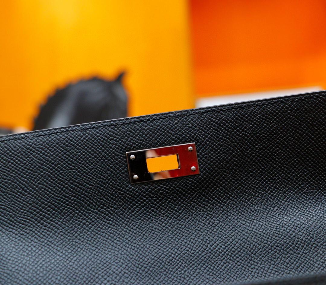 Hermès(爱马仕)Kelly 凯莉包 黑色 Epsom 全手缝 银扣 28cm