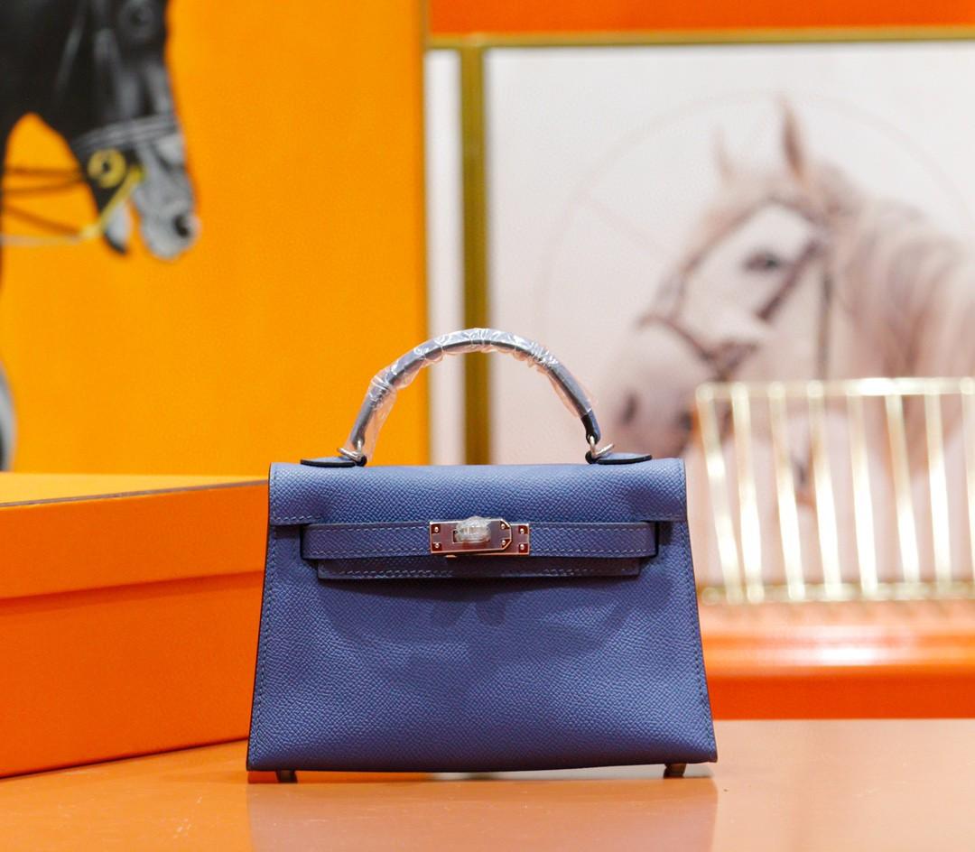 Hermès(爱马仕)Minikelly 迷你凯莉 玛瑙蓝 Epsom 全手缝 银扣 2代