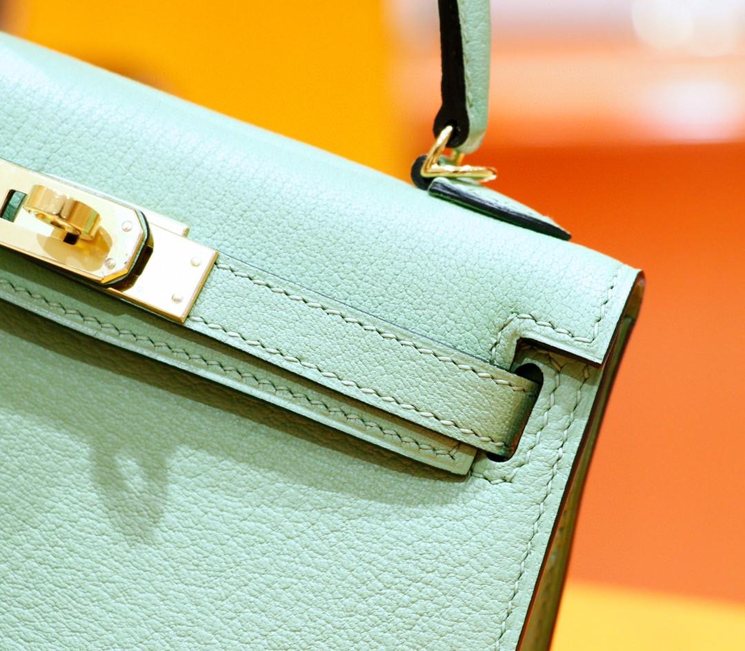 Hermès(爱马仕)Minikelly 迷你凯莉 牛油果绿 山羊皮 全手缝 金扣 2代