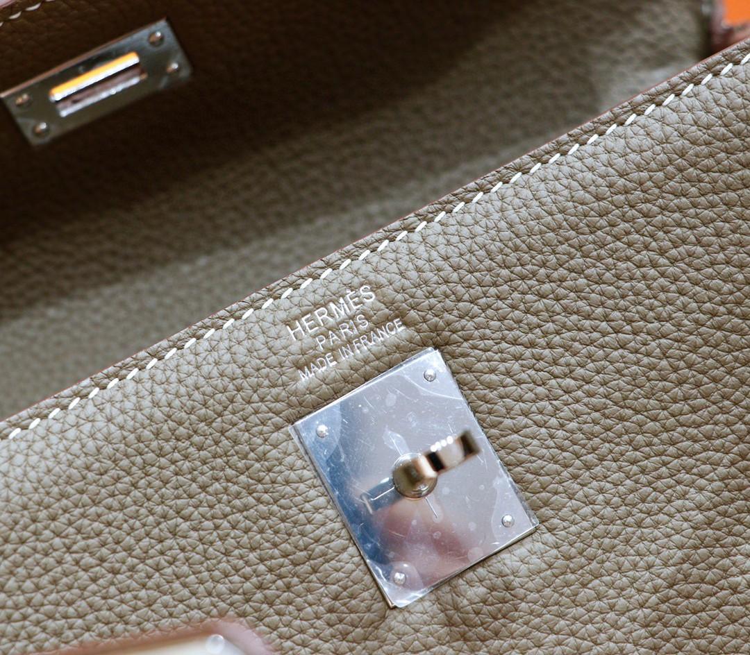 Hermès(爱马仕)Kelly ado 双肩包 大象灰 Togo 全手缝 银扣