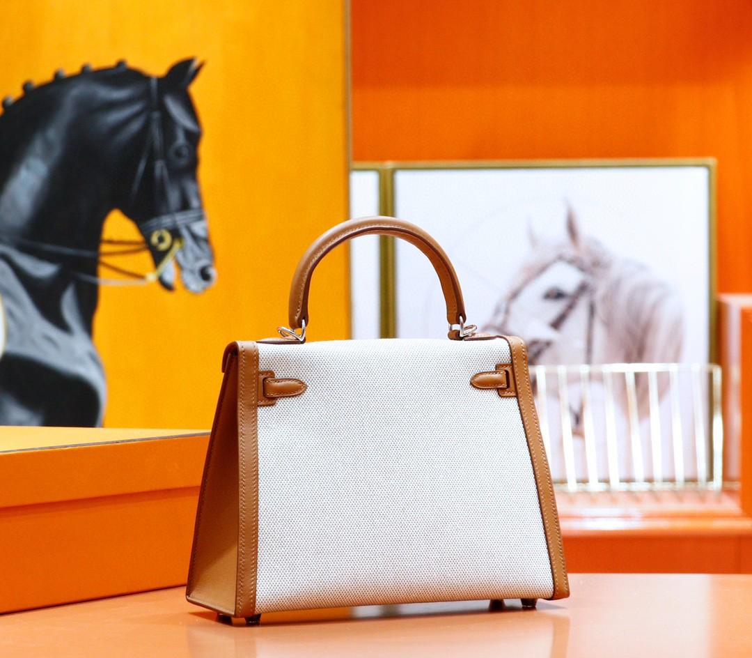 Hermès(爱马仕)Kelly 凯莉包 金棕色 Swift拼原版帆布 订制款 银扣 25cm