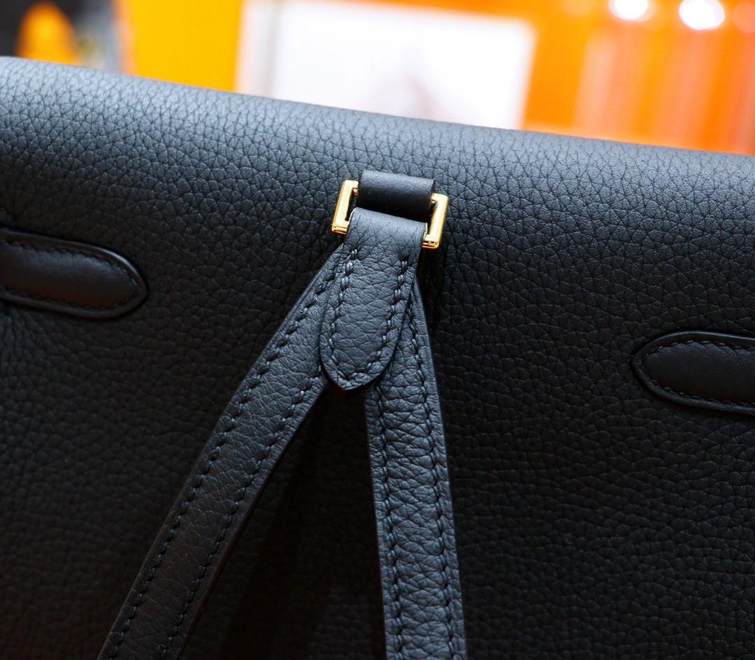 Hermès(爱马仕)Kelly ado 双肩包 黑色 Togo 全手缝 金扣
