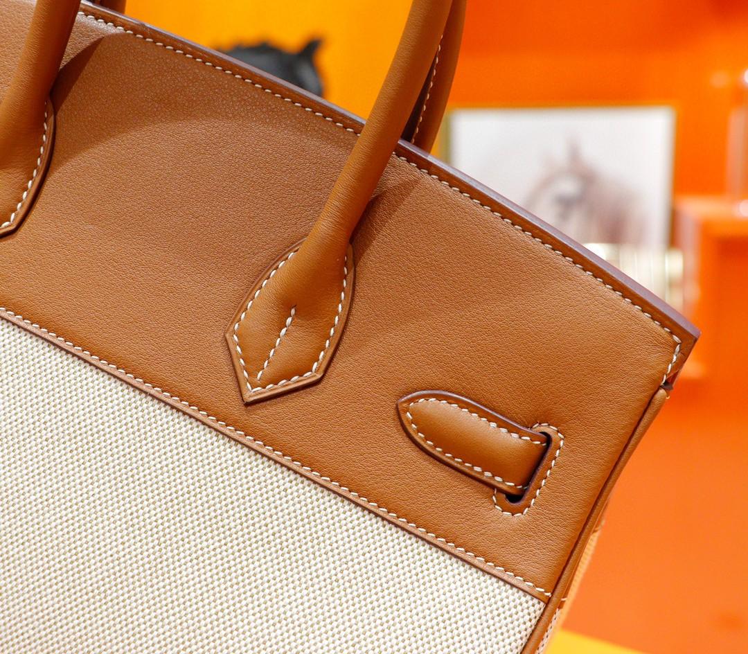 Hermès(爱马仕)Birkin 铂金包 金棕拼原版帆布 金扣 30cm 全手缝