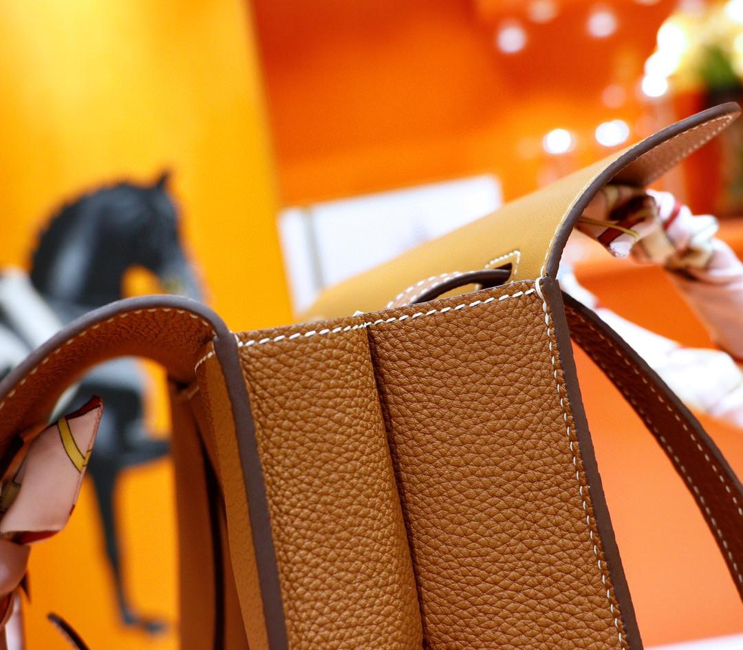 Hermès(爱马仕)Halzan 金棕 Evercolor 全手缝 银扣 31cm