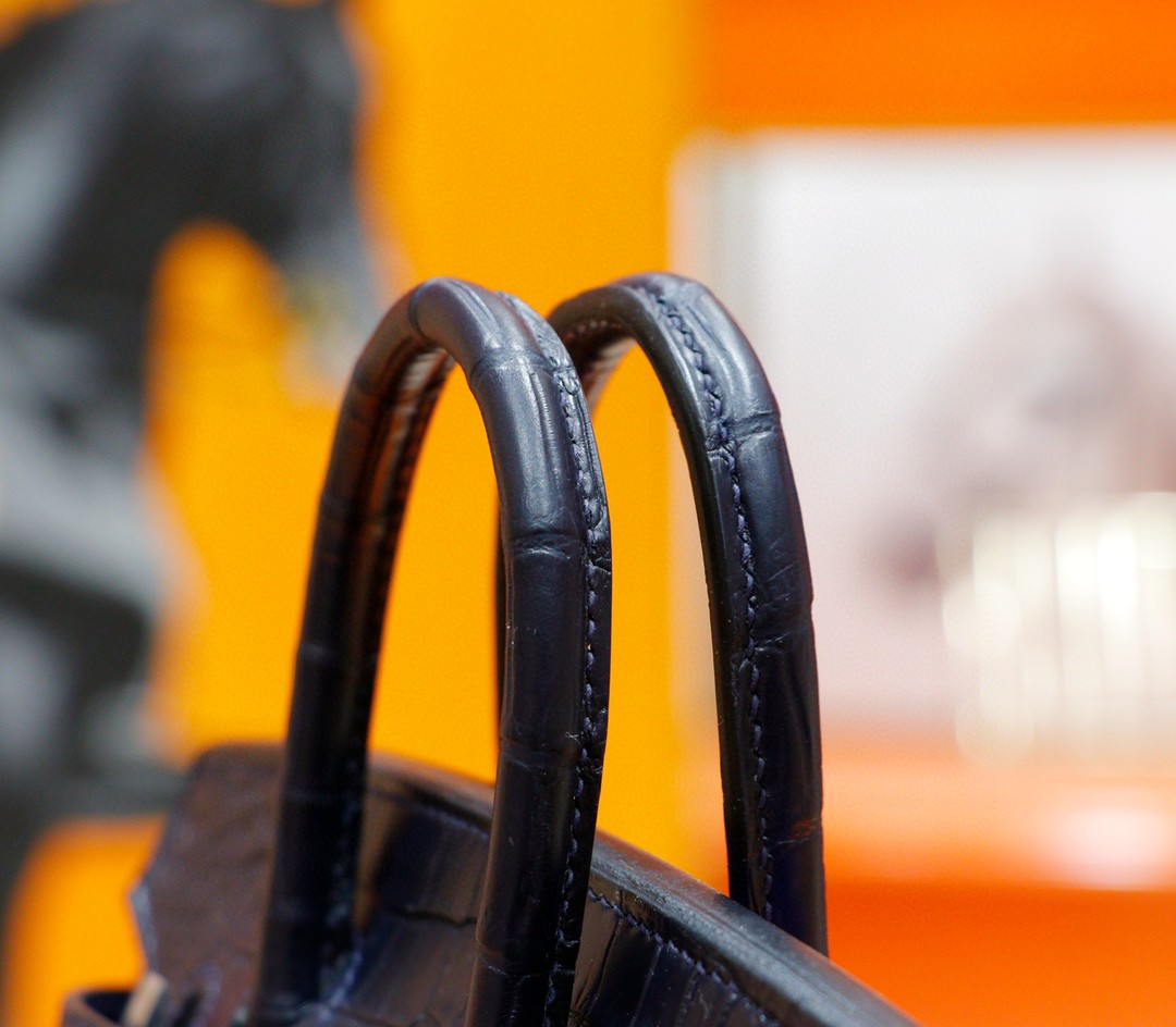 Hermès(爱马仕)Birkin 房子包 宝蓝色 鳄鱼皮 银扣 20cm