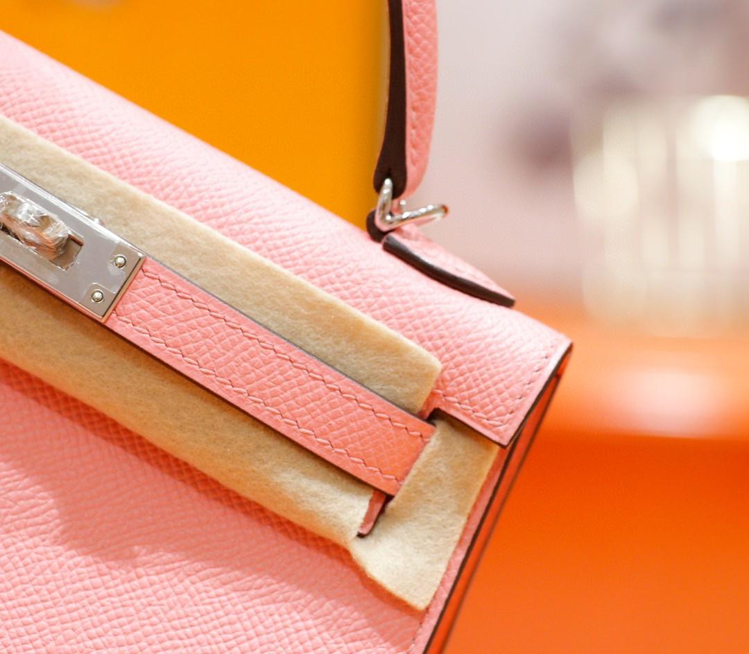 Hermès(爱马仕)Minikelly 迷你凯莉 奶昔粉 Epsom 全手缝 银扣 2代