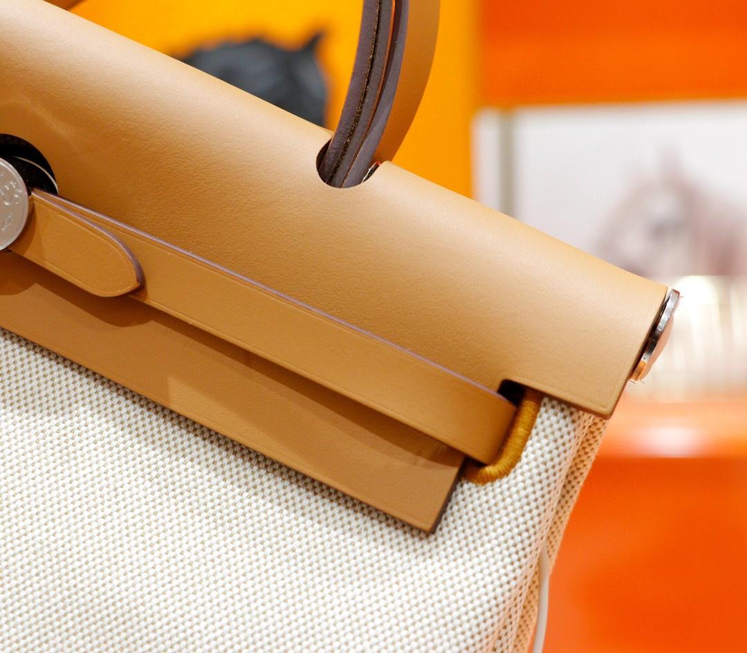 Hermès(爱马仕)Herbag 米棕色 原版帆布拼原厂皮 最高版本 银扣 31cm