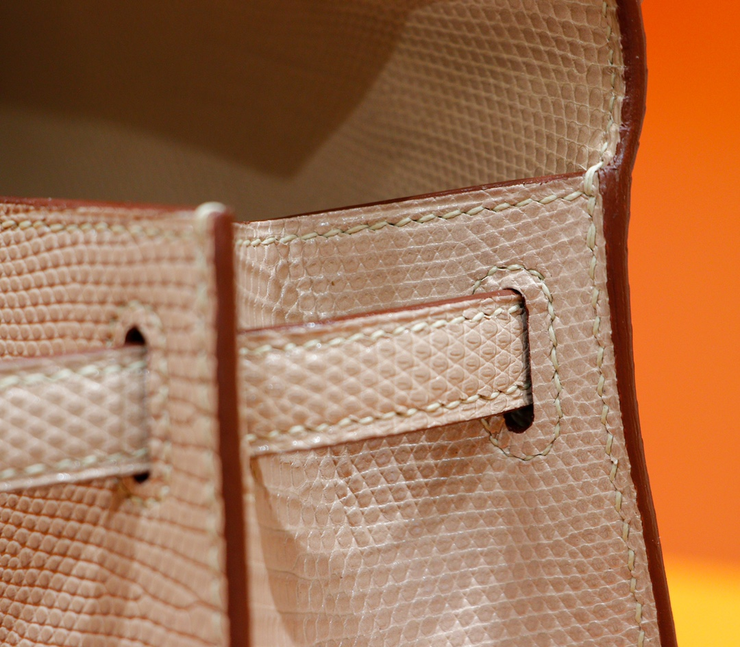 Hermès(爱马仕)Minikelly 迷你凯莉 杏色 蜥蜴皮 全手缝 金扣 一代