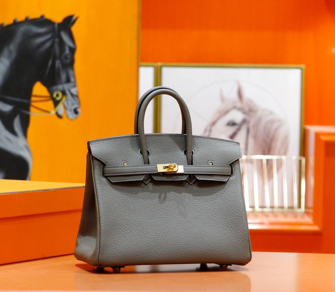 Hermès(爱马仕)Birkin 铂金包 锡器灰 Togo 全手缝 金扣 25cm
