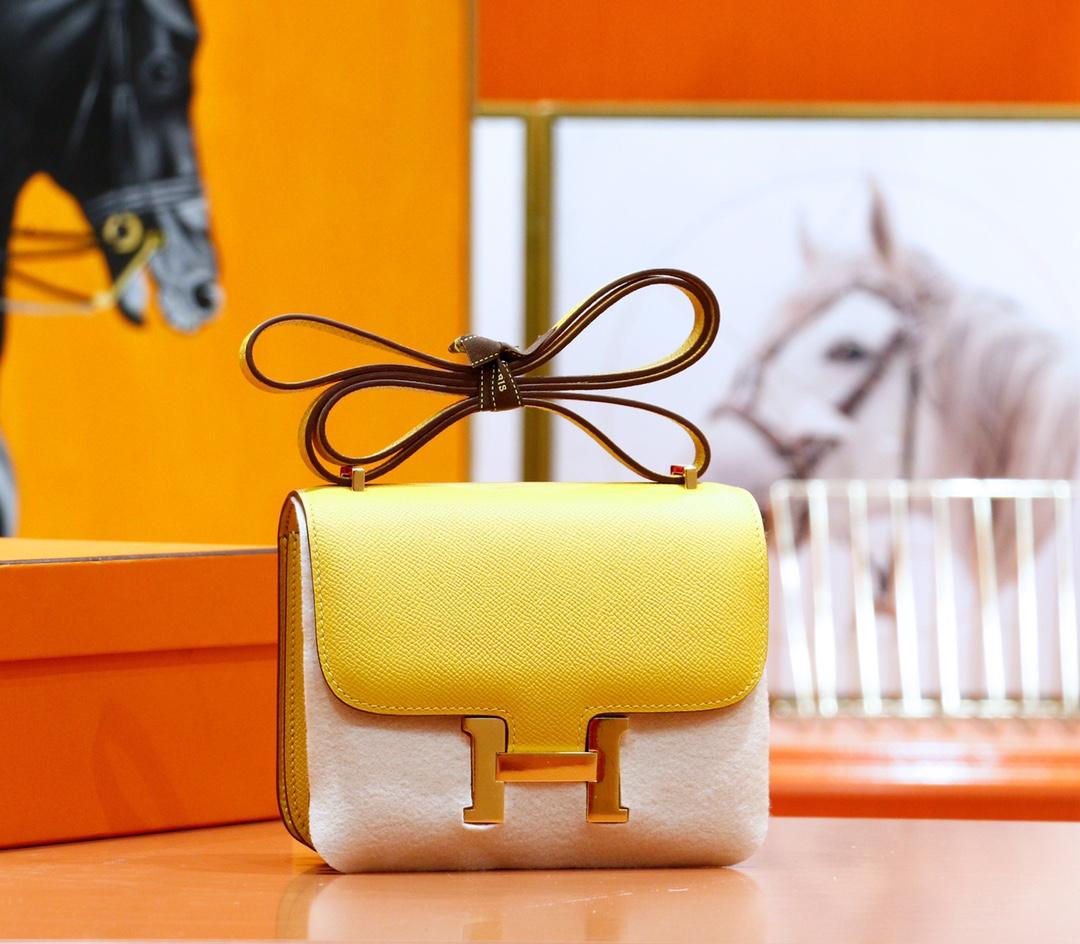 Hermès(爱马仕)Constance 康斯坦斯 琥珀黄 Epsom 全手缝 金扣 19cm