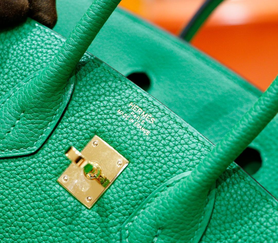 Hermès(爱马仕)Birkin 铂金包 竹子绿 Togo 全手缝 金扣 25cm