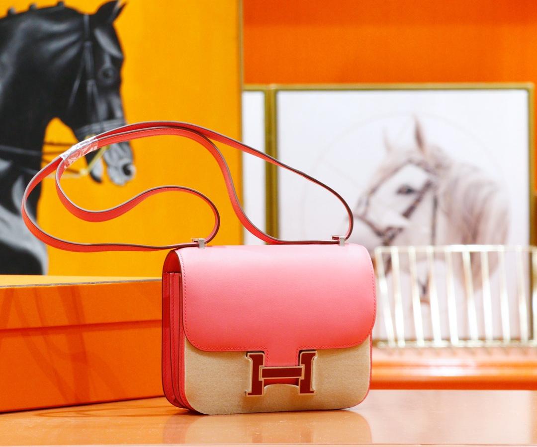 Hermès(爱马仕)Constance 空姐包 唇膏粉 Swift 全手缝 珐琅扣 19cm