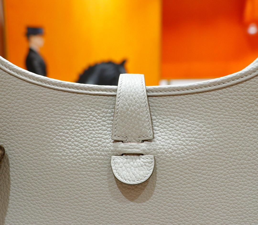 Hermès(爱马仕)Evelyne 伊芙琳 珍珠白 Togo 全手缝 银扣 28cm