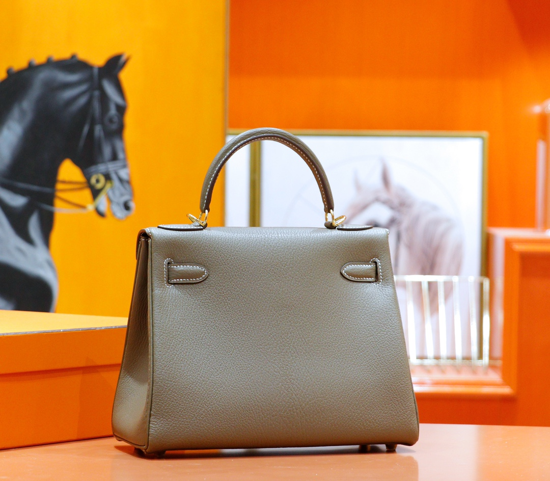 Hermès(爱马仕)Kelly 凯莉包 大象灰 山羊皮 全手缝 金扣 28cm