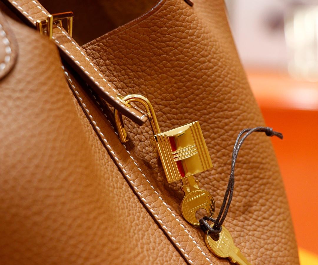 Hermès(爱马仕)Picotin 菜篮子 金棕 Togo 全手缝 金扣 18cm