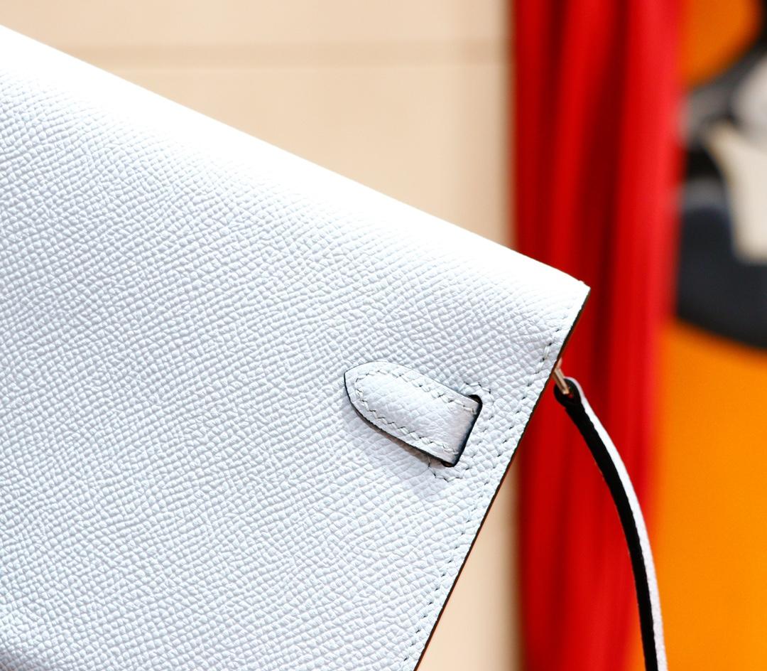 Hermès(爱马仕)Kelly ToGo 雾霾蓝 Epsom 全手缝 银扣