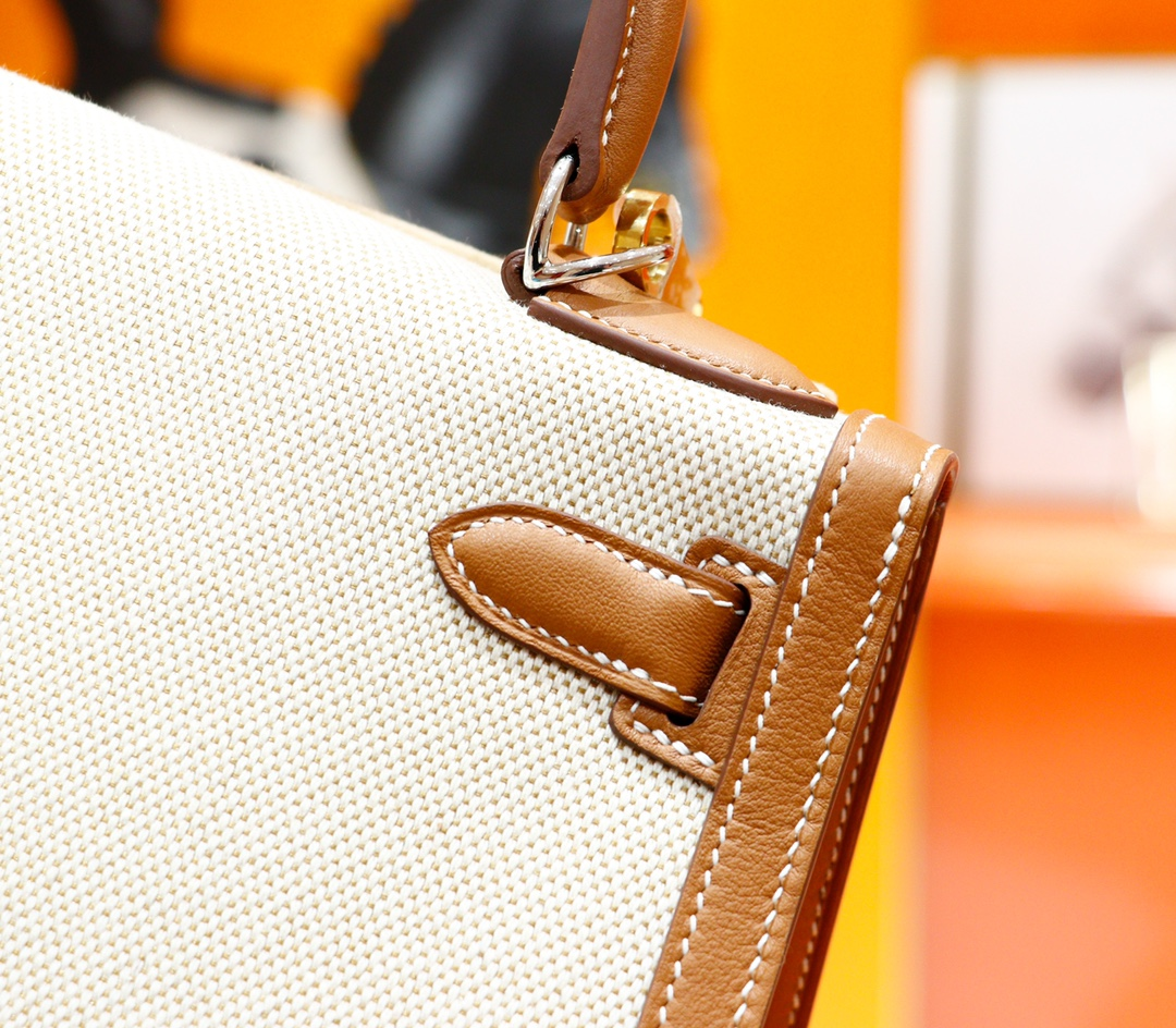Hermès(爱马仕)Kelly 凯莉包 金棕 Swift 原版帆布 拼 原厂皮 全手缝 银扣 25cm
