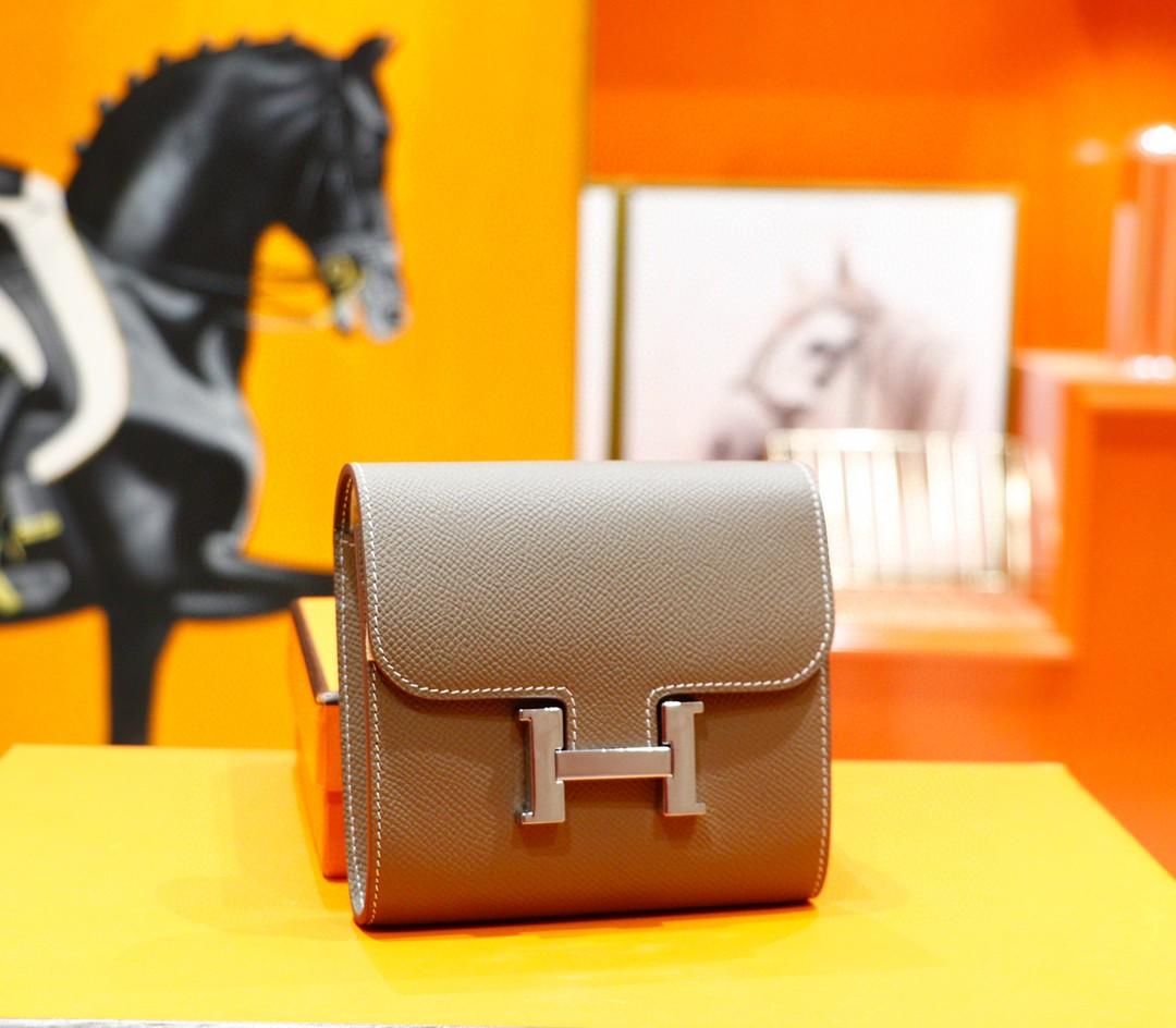 Hermès(爱马仕)Constance 短款钱包 大象灰 Epsom 全手缝 银扣