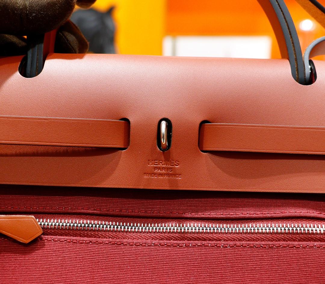 Hermès(爱马仕)Herbag 正红色 原版帆布 拼 原厂皮 最高版本 银扣 31cm