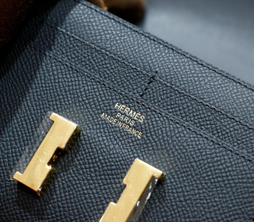 Hermès(爱马仕)Constance 钱夹 黑色 Epsom 全手缝 金扣